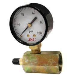 Jones Stephens™ G64100 Gas Test Gauge Assembly With Brass Air Valve, 100 psi, 3/4 in FNPT Connection, 2 in Dial
