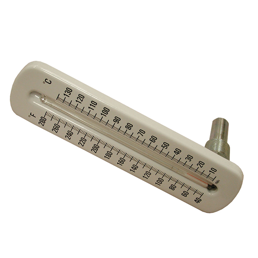 Jones Stephens™ J40503 Angle Pattern Hot Water/Refrigerant Line Thermometer With Brass Well, 40 to 280 deg F