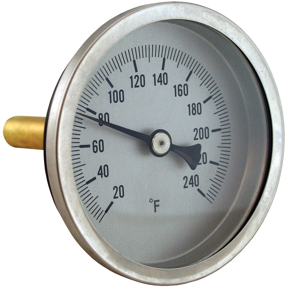 Jones Stephens™ J40561 Bi-Metal Dial Thermometer With Brass well, 3 in Dial, 1/2 in NPT Connection, 1-1/8 in L Stem, 20 to 240 deg F