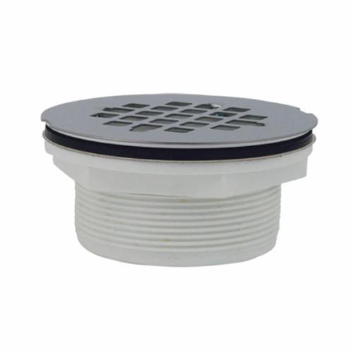 Jones Stephens™ D40101 No Caulk Shower Stall Drain With Stainless Steel Strainer, 4 in, 4-1/4 in Stainless Steel Grid, PVC Drain