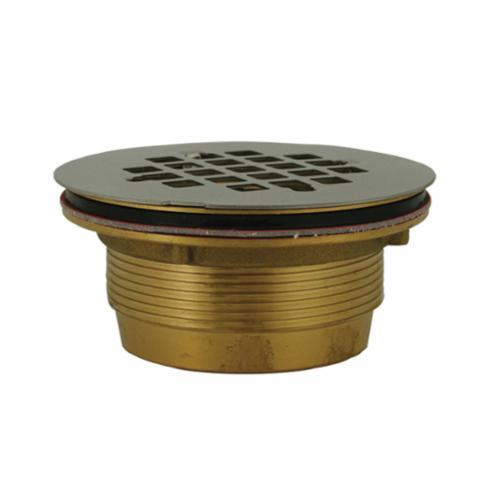 Jones Stephens™ D40140 No Caulk Shower Stall Drain With Stainless Steel Strainer, 2 in, 4-1/4 in Stainless Steel Grid, Brass Drain