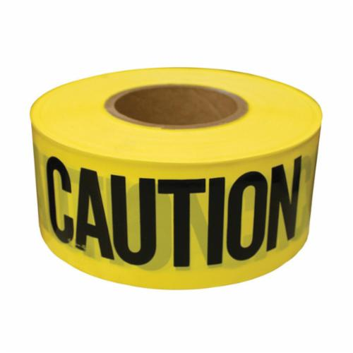 Jones Stephens™ J43300 Non-Stick Caution Tape, Black on Yellow, 3 in W x 300 ft L, Caution