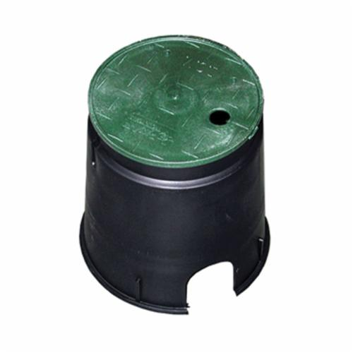 Jones Stephens™ M06006 Residential Round Valve Box With Green Lid, 6 in Dia x 9 in L, Domestic