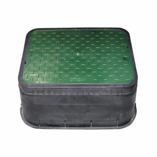 Jones Stephens™ M15001 Jumbo Water Meter Box With Solid Green Lid, 23-7/8 in L x 15 in W x 6-9/16 in H, Rectangular, Domestic