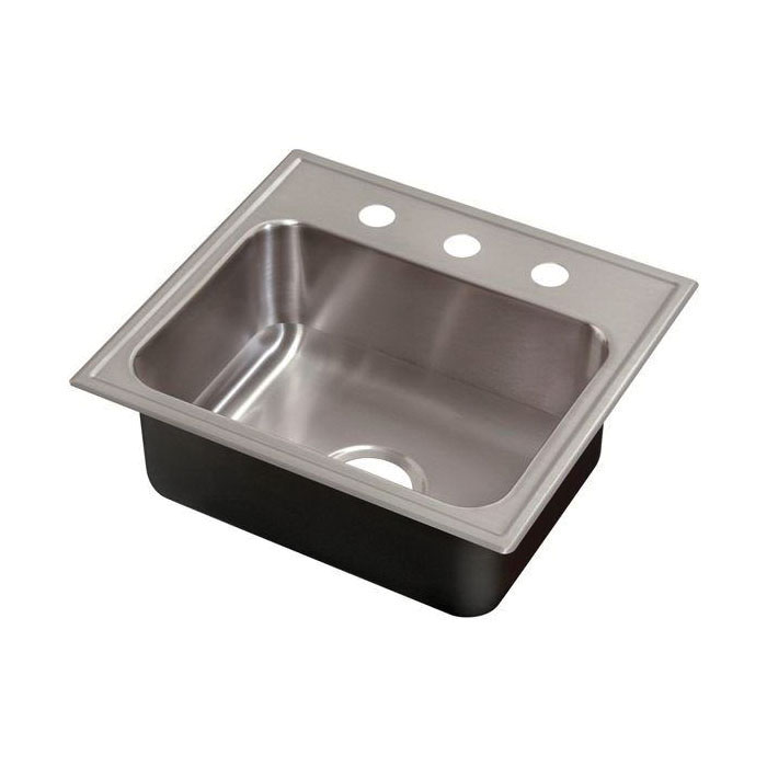 Just Manufacturing CSL-2225-B-GR Ledge Drop-In Sink, Continental, 22 in L x 16 in W x 7 in D Bowl, 3 Faucet Holes, 25 in L x 22 in W, Top Mount, 304 Stainless Steel