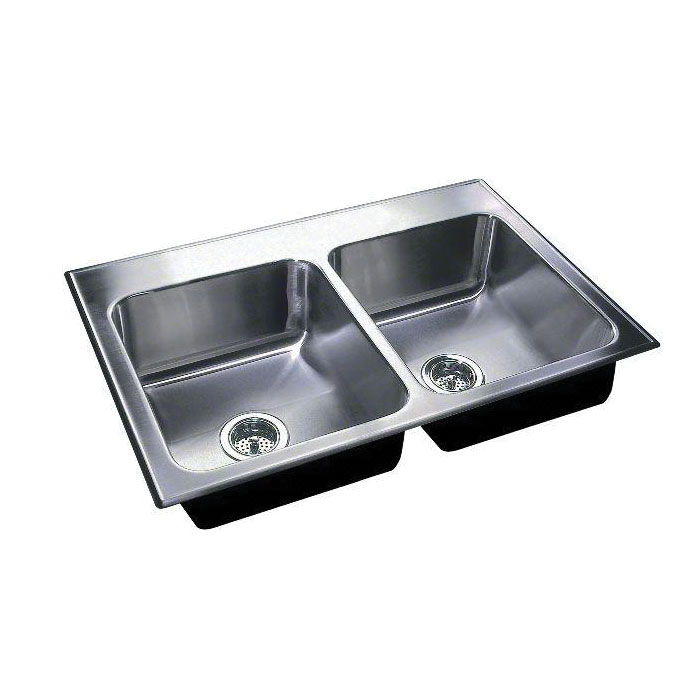 Just Manufacturing DL-1933-A-GR Standard Depth Ledge Drop-In Sink, Stylist, 14 in L x 14 in W x 8 in D Left Bowl, 14 in L x 14 in W x 8 in D Right Bowl, 3 Faucet Holes, 33 in L x 19 in W, Top Mount, 304 Stainless Steel