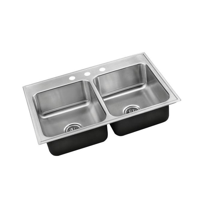 Just Manufacturing DL-2233-A-GR Standard Depth Ledge Drop-In Sink, Stylist, 14 in L x 16 in W x 8 in D Left Bowl, 14 in L x 16 in W x 8 in D Right Bowl, 3 Faucet Holes, 33 in L x 22 in W, Top Mount, 304 Stainless Steel