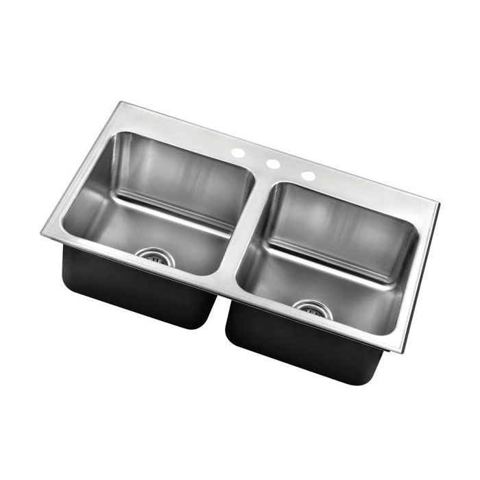 Just Manufacturing DLX-2233-A-GR Deep Ledge Drop-In Sink, Stylist, 14 in L x 16 in W x 10-1/2 in D Left Bowl, 14 in L x 16 in W x 10-1/2 in D Right Bowl, 3 Faucet Holes, 33 in L x 22 in W, Top Mount, 304 Stainless Steel
