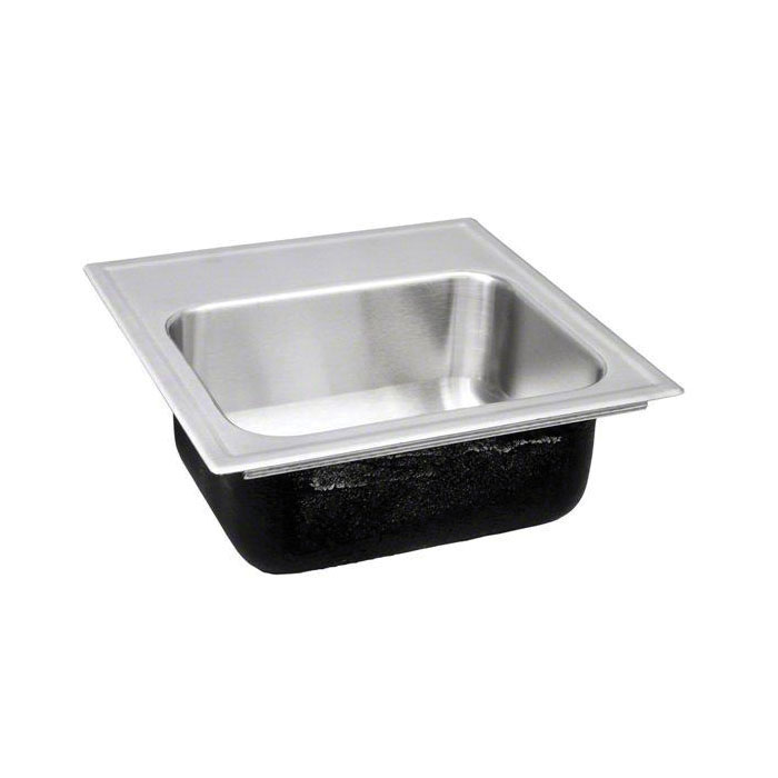 Just Manufacturing SBL-1515-A-GR Ledge Drop-In Bar Sink, Congeniality, 12 in L x 9 in W x 6 in D Bowl, 2 Faucet Holes, 15 in L x 15 in W x 6 in D, Top Mount, 18 ga 304 Stainless Steel
