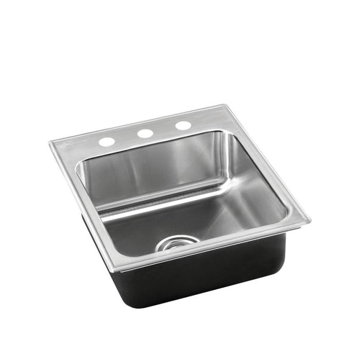 Just Manufacturing SL-1815-B-GR Standard Depth Ledge Drop-In Sink, Stylist, 12 in L x 12 in W x 7 in D Bowl, 3 Faucet Holes, 15 in L x 18 in W, Top Mount, 304 Stainless Steel