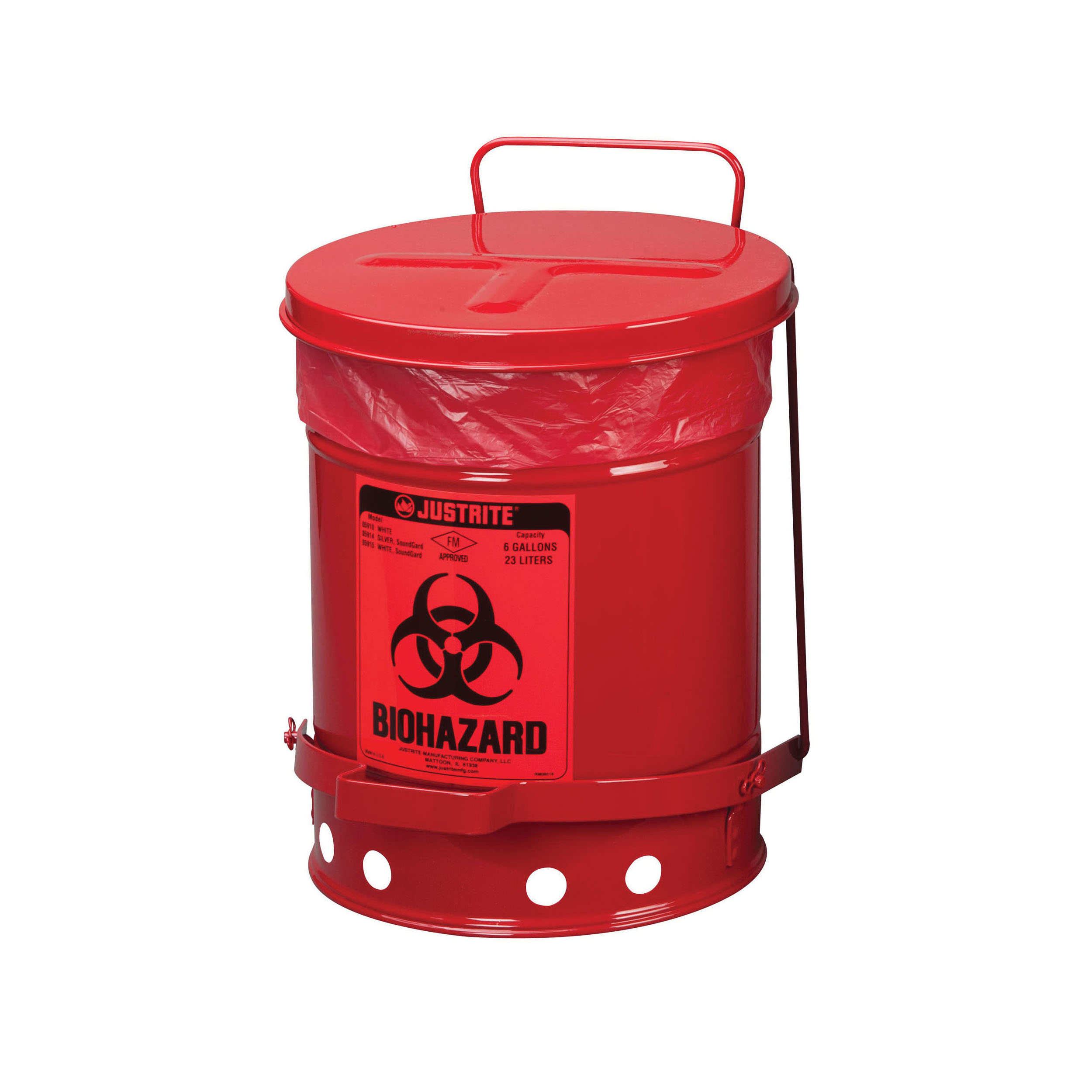 Justrite® 05901 Liner Bag, For Use With Biohazard Waste Cans, Plastic, Red