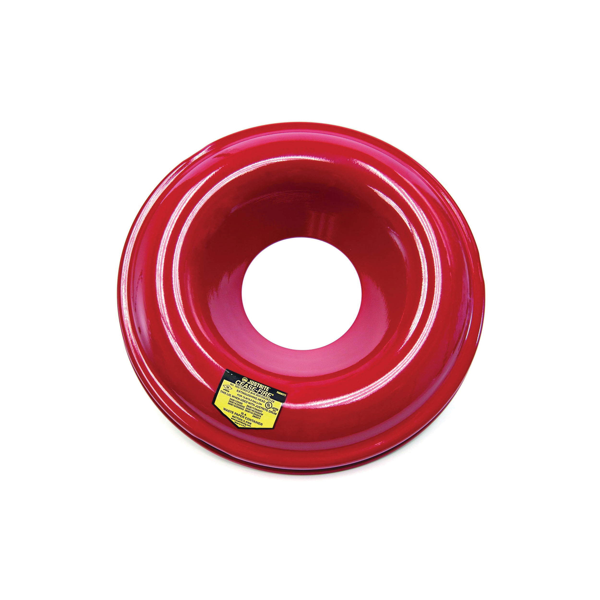 Justrite® 26312 Drum Can Head, 5-1/4 in Dia Opening 15-1/8 in OD, For Use With Cease-Fire® 12 to 15 gal Waste Receptacle Safety Drum Can, Steel, Red