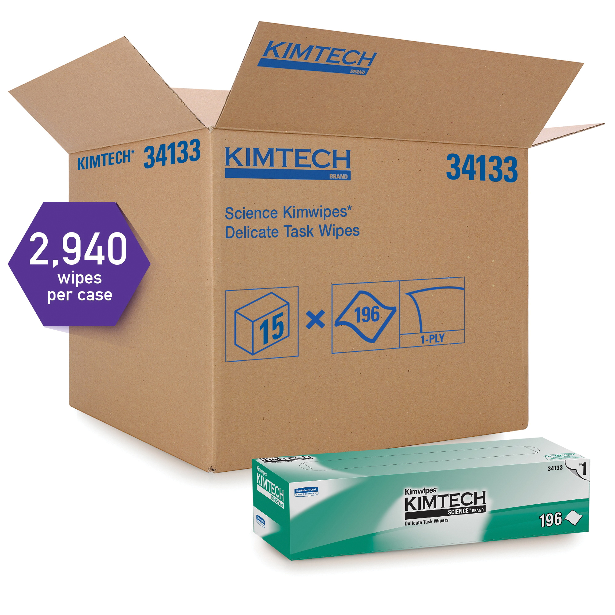 Kimtech Science* Kimwipes* 34120 Delicate Task Wiper, 4.4 in W, 280 Wipes Capacity, Tissue, White