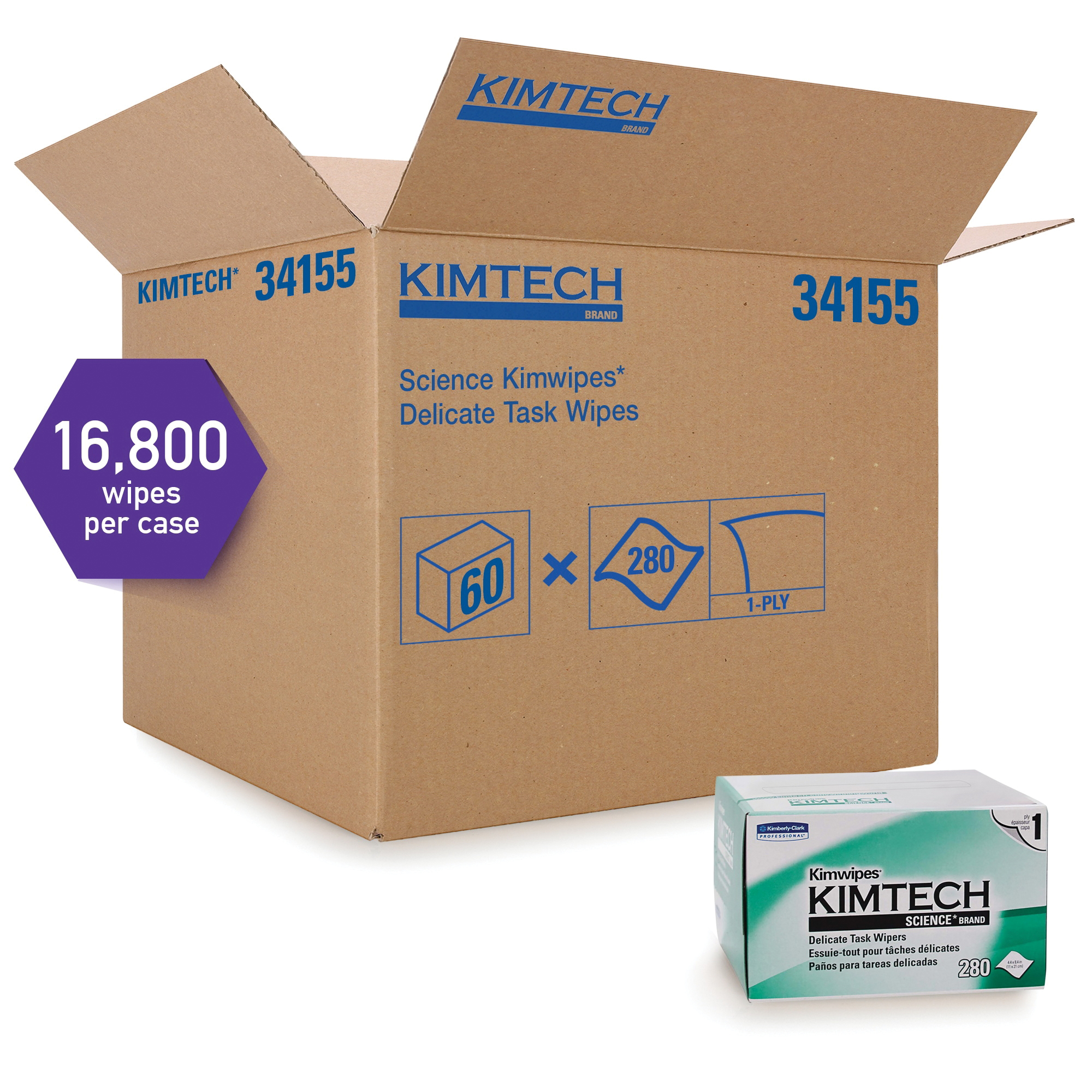 Kimtech* Kimwipes* 34133 Delicate Task Wiper, 11.8 in W, 196 Wipes Capacity, Tissue, White