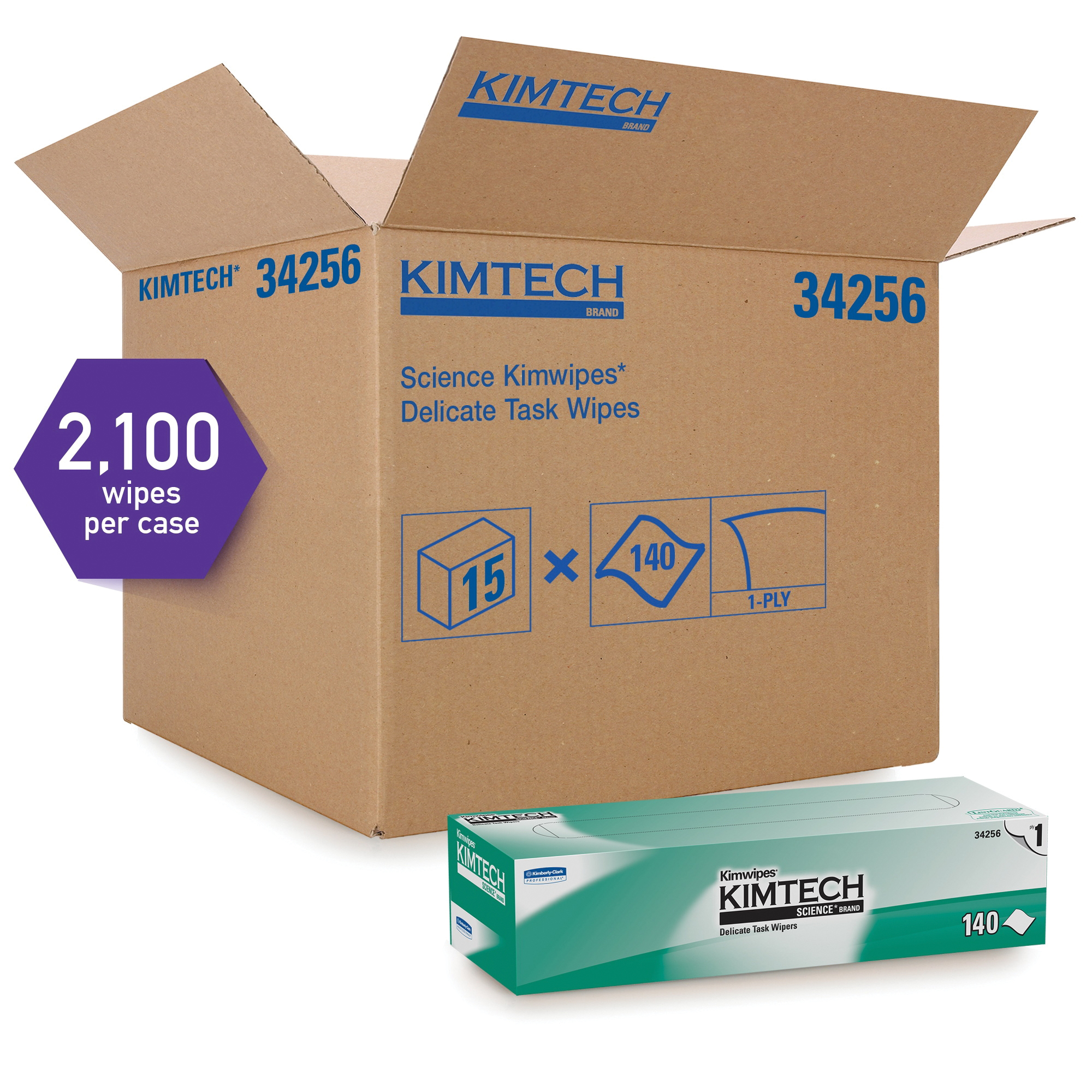 Kimberly Clark* Kimwipes* 34155 Task Wiper, 8.4 in W, 280 Wipes Capacity, Cellulose, White