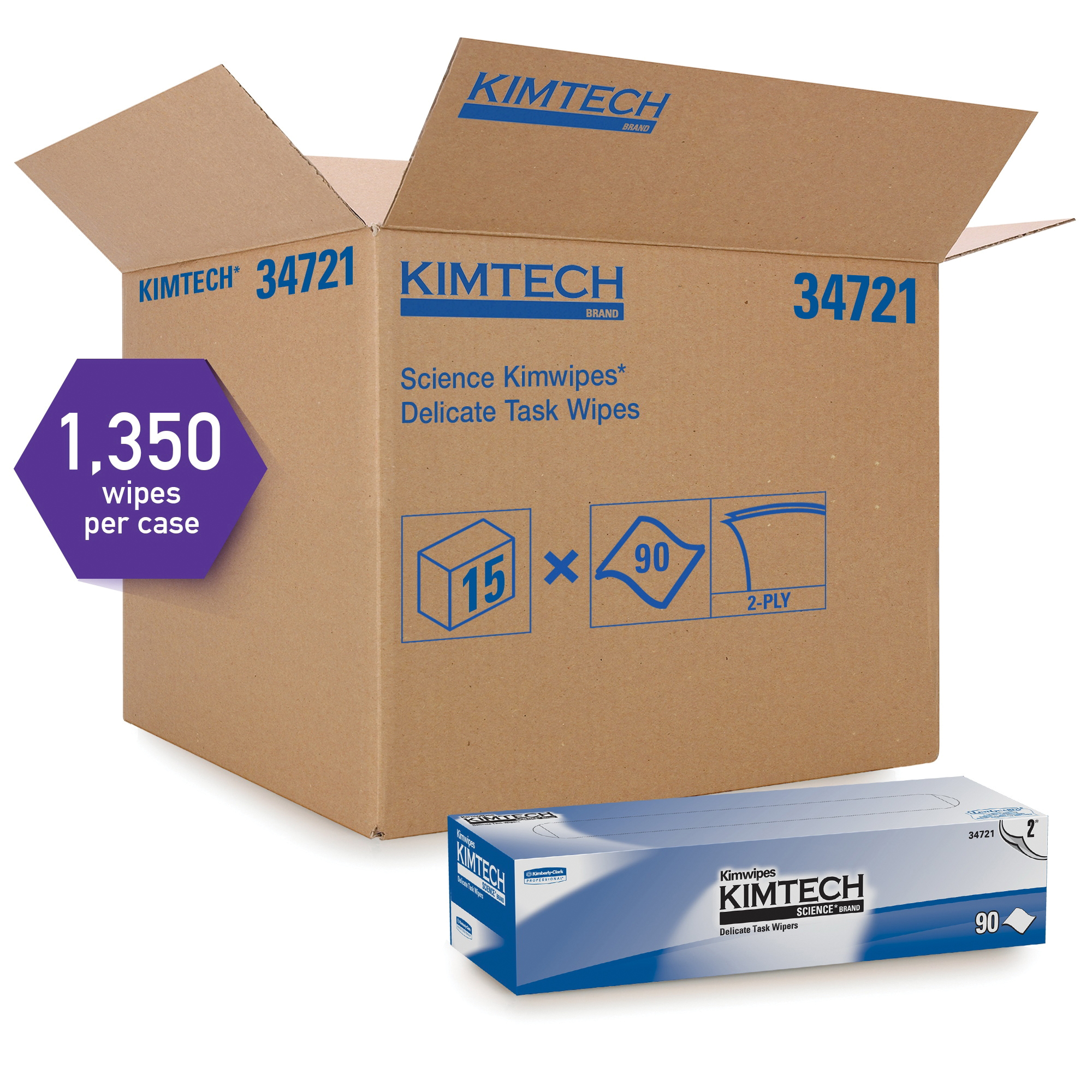 Kimtech Science* Kimwipes* 34705 Delicate Task Wiper, 11.8 in W, 119 Wipes Capacity, Tissue, White