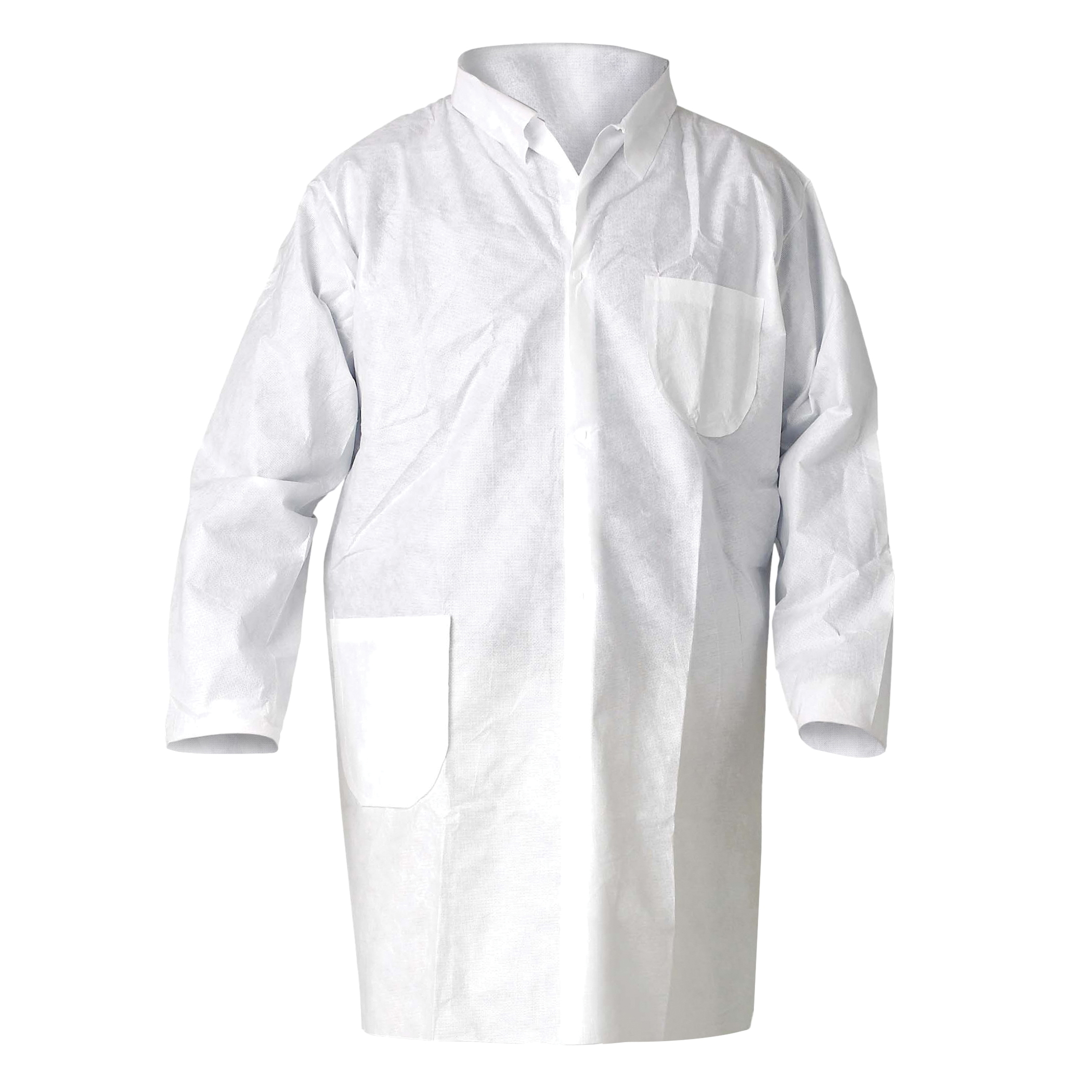 KleenGuard* 09829 A70 Spray Protection Smock, XL, Yellow, 1.5 mil Polyethylene Coated Fabric, 44 in L, Front Tie Closure, Specifications Met: TAA Complaint, NFPA 99