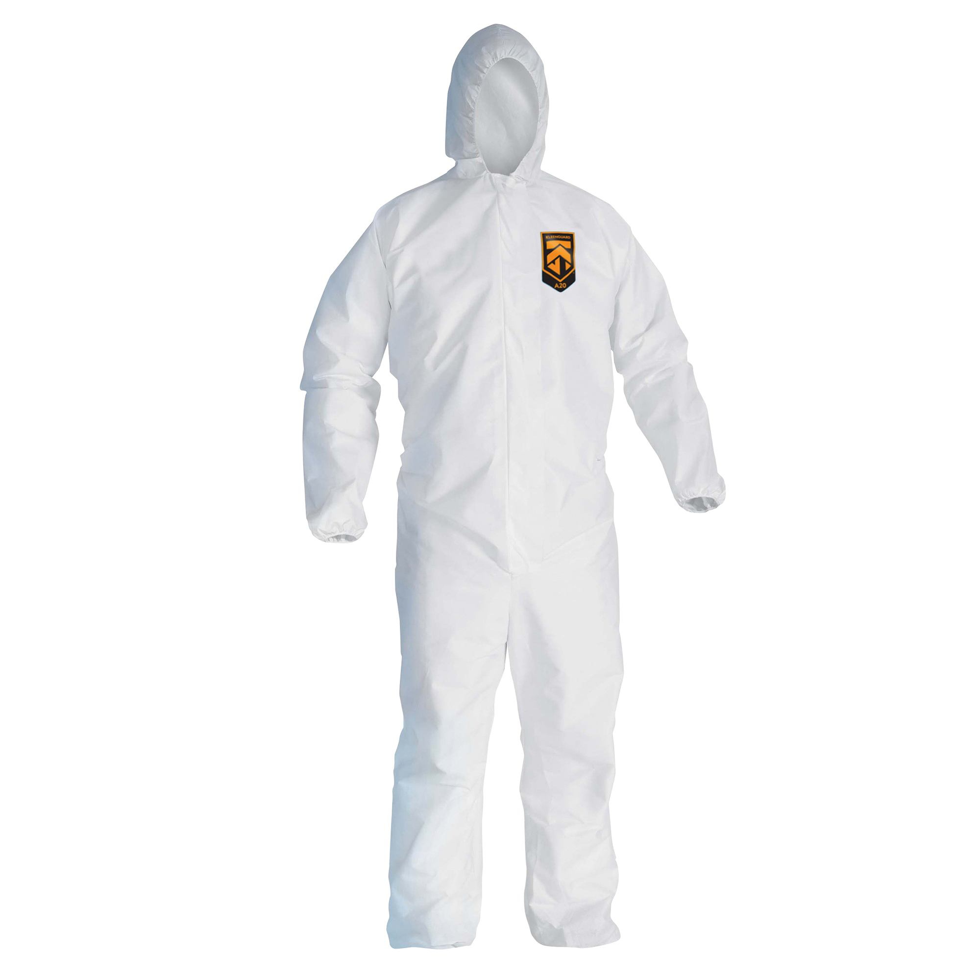 KleenGuard™ 10606 A10 Breathable Light Duty Lightweight Disposable Coverall, L, White, SMS Fabric, 25 in Chest, 29 in L Inseam