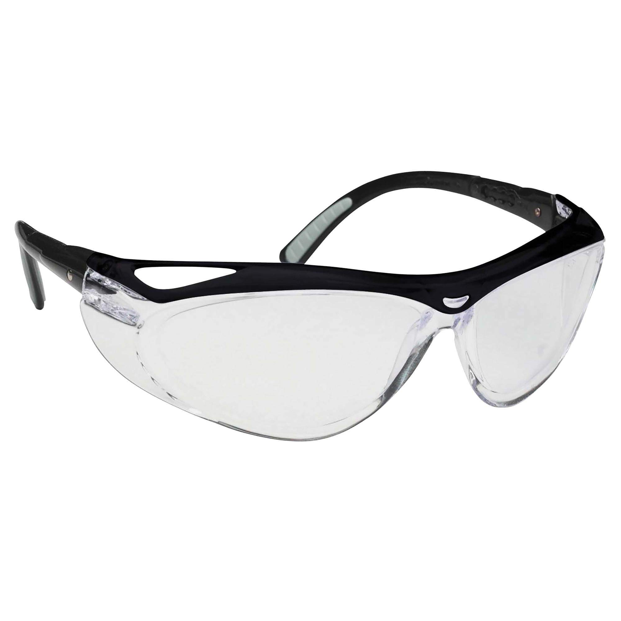 Jackson Safety* 14476 V20 Visio® Lightweight Safety Glasses, Anti-Scratch Indoor/Outdoor Lens, Black Polycarbonate Frame, Polycarbonate Lens, Specifications Met: ANSI Z87.1+2010, CSA Z94.3-2007