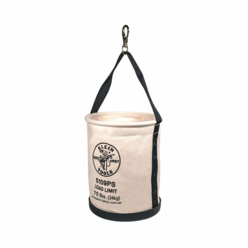 Klein® 5109P Wide Opening Straight Wall Bucket With Pocket, 15 in H, 1 Pocket, #6 Canvas