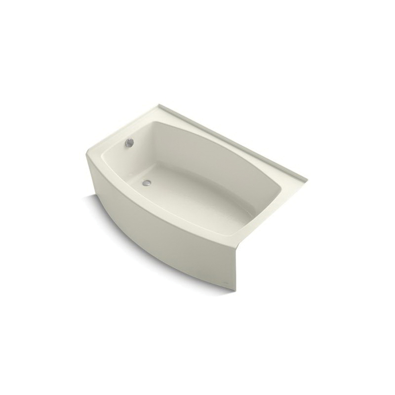 Kohler® 1100-LA-96 Bathtub With Integral Flange, Expanse®, Soaking Hydrotherapy, Curved Shape, 60 in L x 38 in W, Left Drain, Biscuit, Domestic