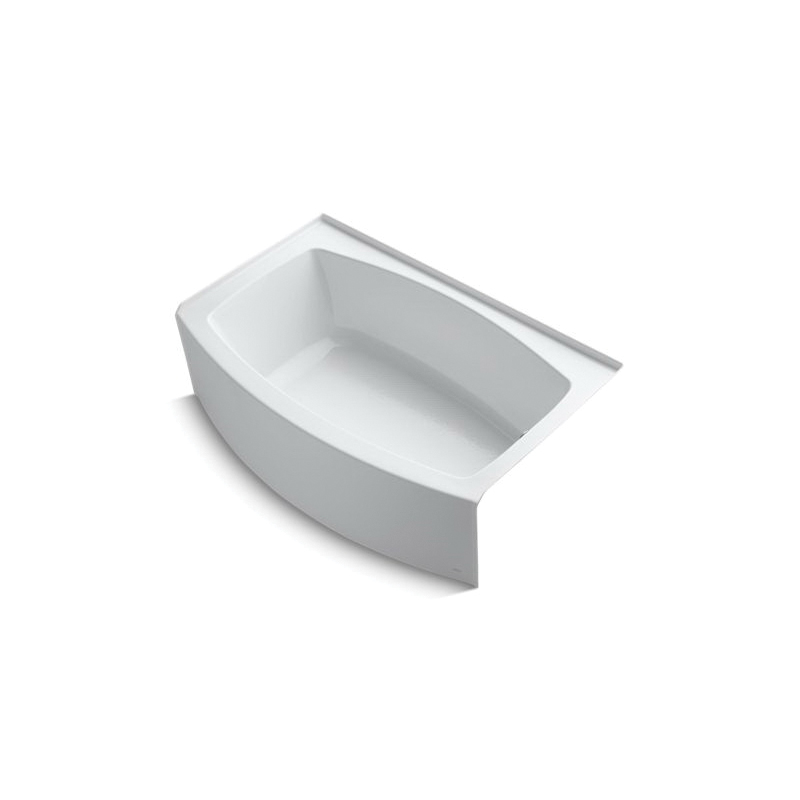 Kohler® 1100-RA-0 Bathtub With Integral Flange, Expanse®, Soaking Hydrotherapy, Curved Shape, 60 in L x 38 in W, Right Drain, White, Domestic