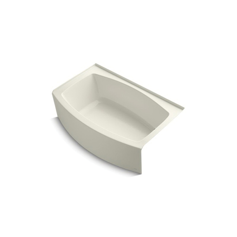 Kohler® 1100-RA-96 Bathtub With Integral Flange, Expanse®, Soaking Hydrotherapy, Curved Shape, 60 in L x 38 in W, Right Drain, Biscuit, Domestic