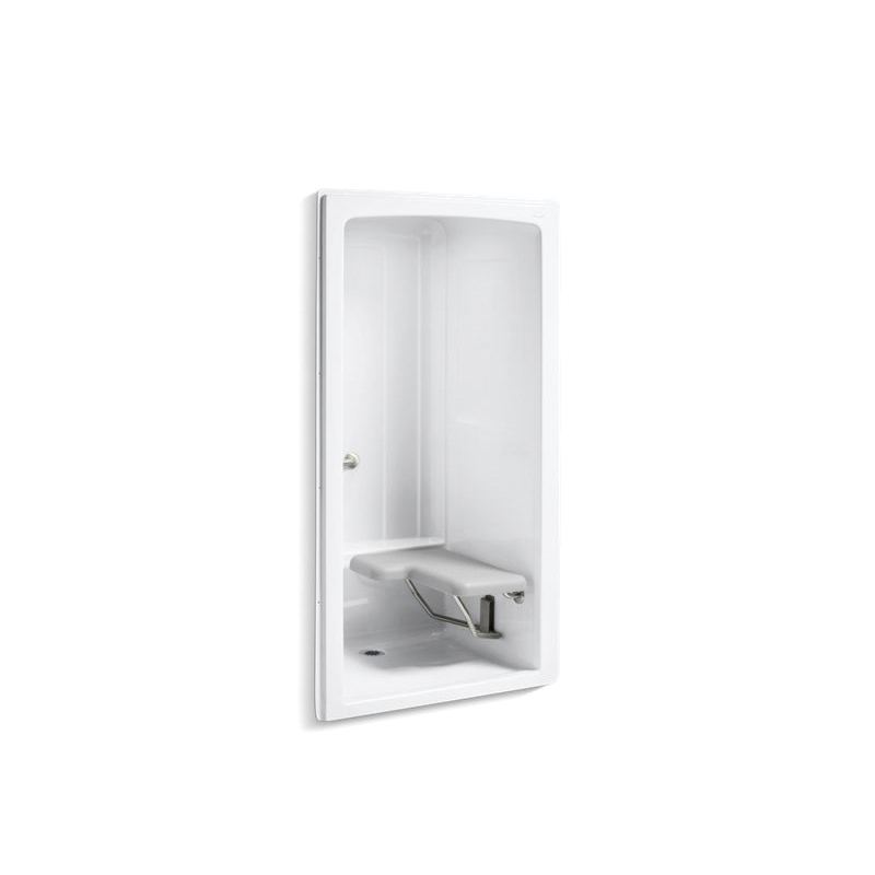 Kohler® 12100-C-0 1-Piece Shower Stall With Brushed Stainless Steel Grab Bars, Freewill®, 45 in L x 37-1/4 in W x 84 in H, Acrylic, White