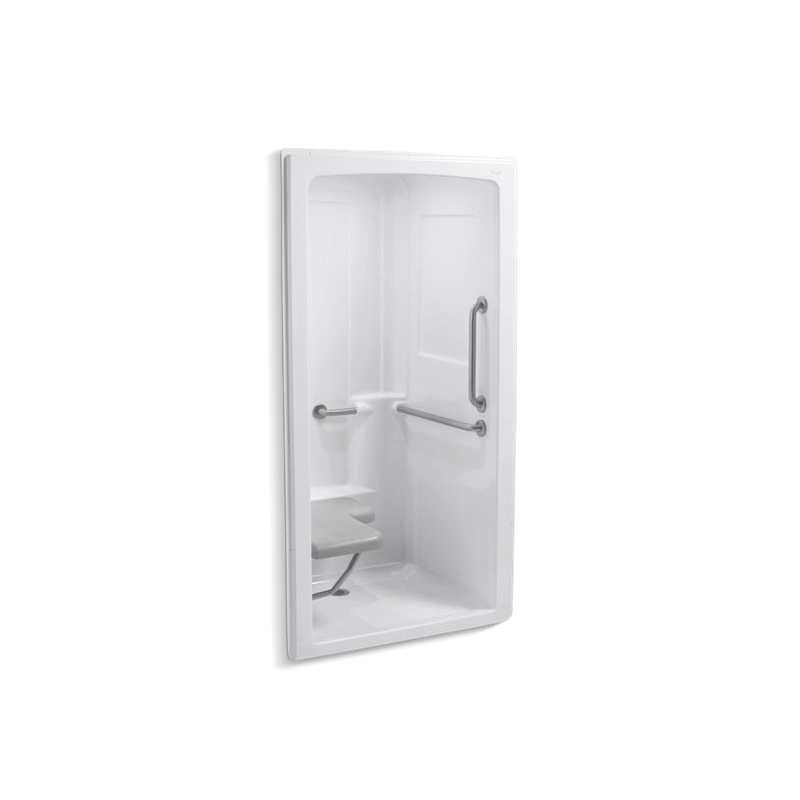 Kohler® 12101-C-0 1-Piece Shower Stall With Brushed Stainless Steel Grab Bars, Freewill®, 45 in L x 37-1/4 in W x 84 in H, Acrylic, White
