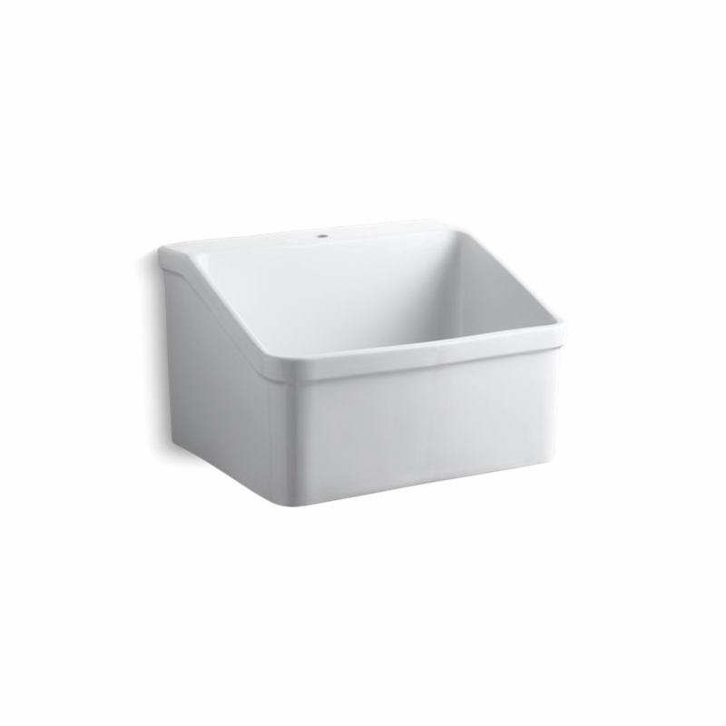 Kohler® 12793-0 Utility Sink With Single Faucet Hole, Hollister™, Rectangular, 1 Faucet Hole, 28 in W x 22 in D x 17-1/2 in H, Wall Mount, Vitreous China, White