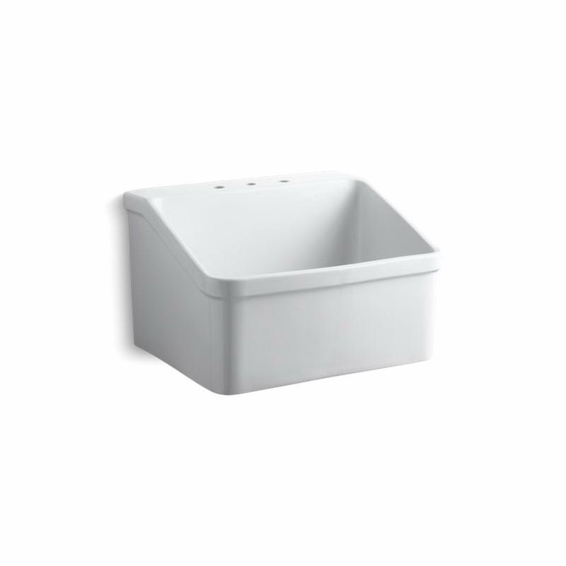 Kohler® 12794-0 Utility Sink, Hollister™, Rectangular, 3 Faucet Holes, 28 in W x 22 in D x 17-1/2 in H, Wall Mount, Vitreous China, White