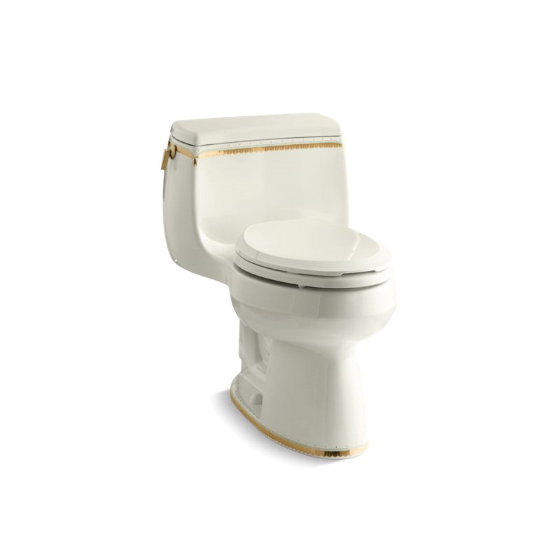 Kohler® 14345-WF-96 Prairie Flowers™ Gabrielle™ 1-Piece Toilet With Left-Hand Trip Lever, Elongated Bowl, 16-1/4 in H Rim, 12 in Rough-In, 1.28 gpf Flush Rate, Biscuit