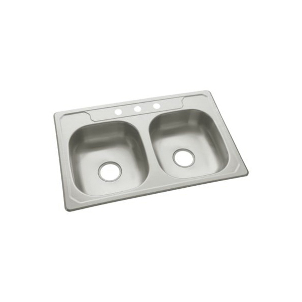 Sterling® 14633-3F-NA Self-Rimming Kitchen Sink, Middleton®, Rectangular, 13-3/4 in Left, 13-3/4 in Right L x 15-1/2 in Left, 15-1/2 in Right W x 6 in Left, 6 in Right D Bowl, 3 Faucet Holes, 33 in L x 22 in W x 6 in H, Top Mount, Stainless Steel