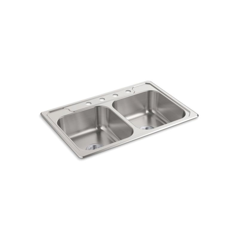 Sterling® 14707-4-NA Self-Rimming Kitchen Sink, Middleton®, Rectangular, 14 in Left, 14 in Right L x 15-1/8 in Left, 15-1/8 in Right W x 7 in Left, 7 in Right D Bowl, 4 Faucet Holes, 33 in L x 22 in W x 7 in H, Top Mount, Stainless Steel, Satin