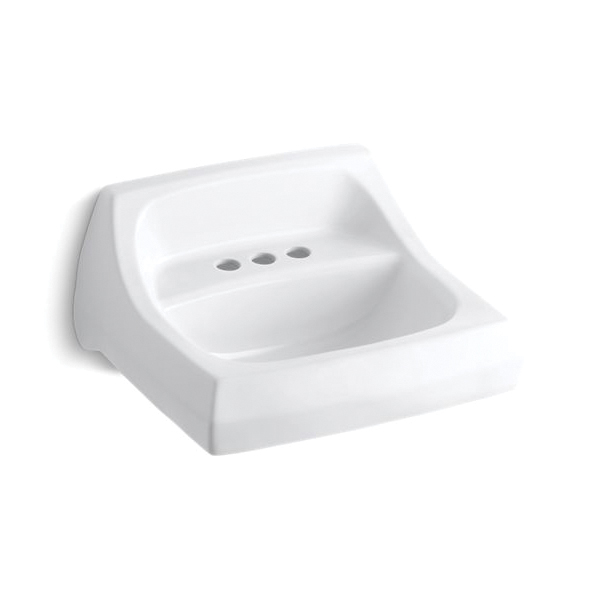 Kohler® 2005-0 Bathroom Sink With Overflow, Kingston™, Squared Shape, 4 in Faucet Hole Spacing, 21-1/4 in W x 18-1/4 in D x 7-1/4 in H, Wall Mount, Vitreous China, White