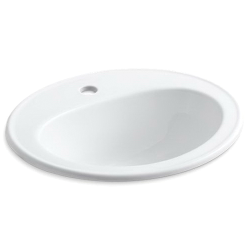 Kohler® 2196-1-0 Self-Rimming Bathroom Sink With Overflow, Pennington®, Oval Shape, 20-1/4 in W x 17-1/2 in D x 8-1/2 in H, Drop-In Mount, Vitreous China, White