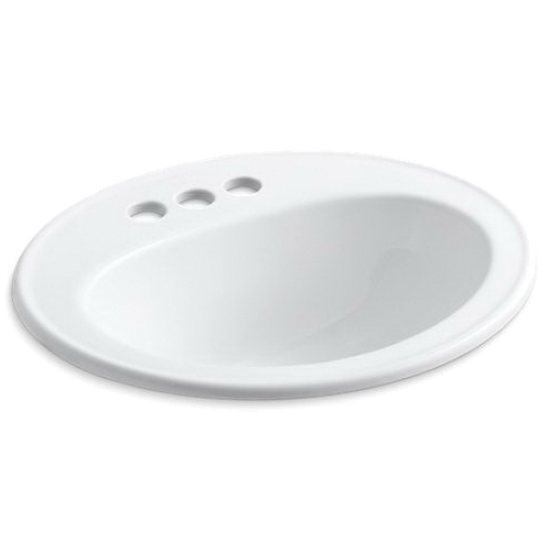 Kohler® 2196-4-0 Self-Rimming Bathroom Sink With Overflow, Pennington®, Oval Shape, 4 in Faucet Hole Spacing, 20-1/4 in W x 17-1/2 in D x 8-1/2 in H, Drop-In Mount, Vitreous China, White