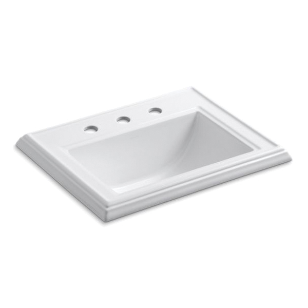 Kohler® 2241-8-0 Elegant Self-Rimming Bathroom Sink With Overflow, Memoirs®, Rectangular Shape, 8 in Faucet Hole Spacing, 22-3/4 in W x 18 in D x 8-3/4 in H, Drop-In Mount, Vitreous China, White
