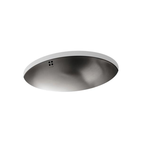 Kohler® 2609-SU-NA Bathroom Sink With Overflow, Bachata®, Oval Shape, 19-7/8 in W x 16-11/16 in D x 7-3/8 in H, Drop-In Mount, Stainless Steel, Satin