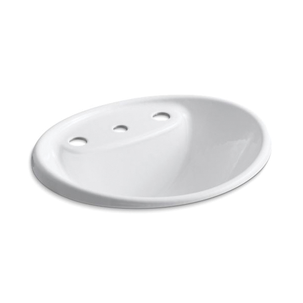 Kohler® 2839-8-0 Bathroom Sink With Overflow, Tides®, Oval Shape, 8 in Faucet Hole Spacing, 20 in W x 17 in D x 9-5/16 in H, Drop-In Mount, Enameled Cast Iron, White