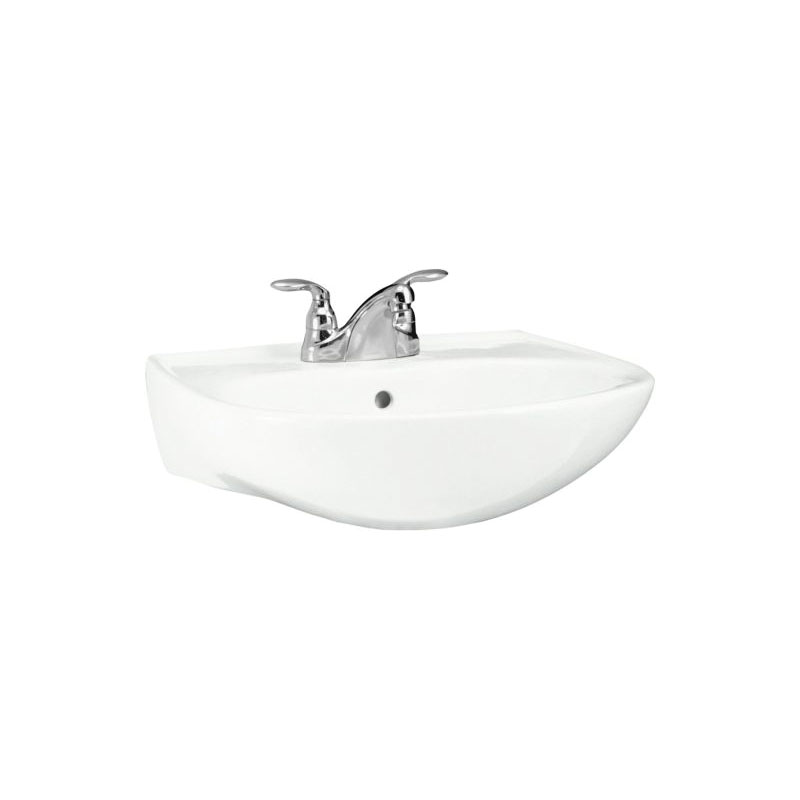 Sterling® 446124-0 Bathroom Sink Basin With Overflow, Sacramento®, Oval, 21-1/4 in W x 18-1/4 in D x 34 in H, Pedestal Mount, Vitreous China, White