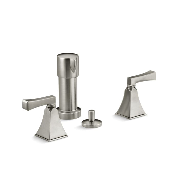Kohler® 470-4V-BN Stately Design Bidet Faucet, Memoirs®, 2.2 gpm Flow Rate, 5-1/2 in Center, Vibrant® Brushed Nickel, 2 Handles, Pop-Up Drain