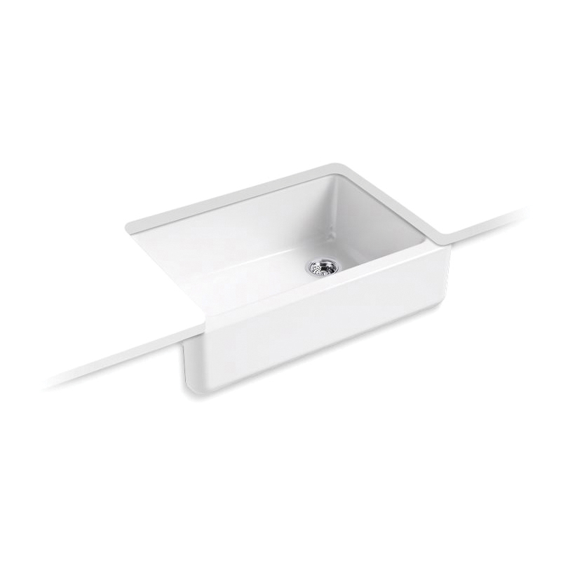Kohler® 5827-0 Self-Trimming Kitchen Sink With Tall Apron, Whitehaven®, Rectangular, 32-11/16 in W x 9-5/8 in D x 21-9/16 in H, Under Mount, Cast Iron, White