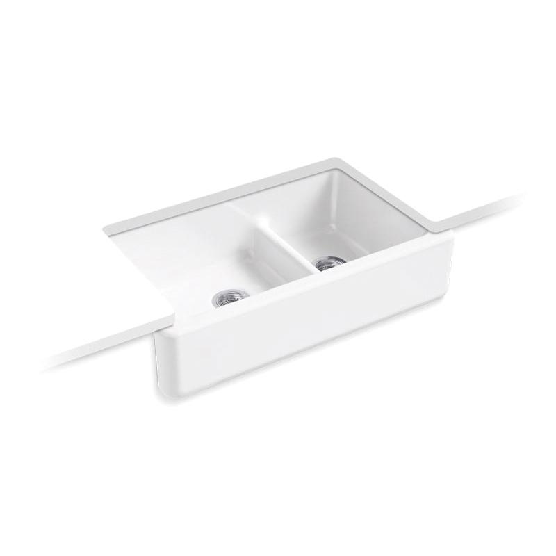 Kohler® 6427-0 Self-Trimming Kitchen Sink, Whitehaven®, Rectangular, 35-11/16 in W x 9-5/8 in D x 21-9/16 in H, Under Mount, Cast Iron, White