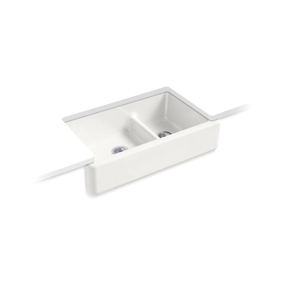 Kohler® 6427-FF Self-Trimming Kitchen Sink, Whitehaven®, Rectangular, 35-11/16 in W x 21-9/16 in D x 9-5/8 in H, Under Mount, Cast Iron, Sea Salt™