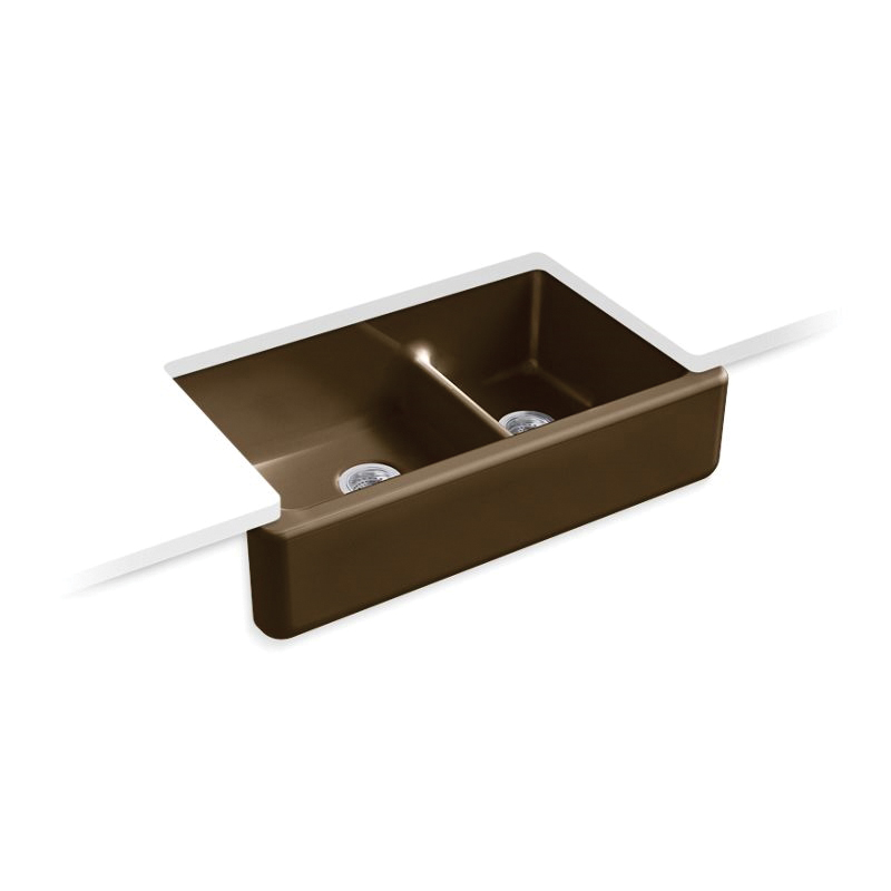 Kohler® 6427-KA Self-Trimming Kitchen Sink, Whitehaven®, Rectangular, 35-11/16 in W x 21-9/16 in D x 9-5/8 in H, Under Mount, Cast Iron, Black 'n Tan
