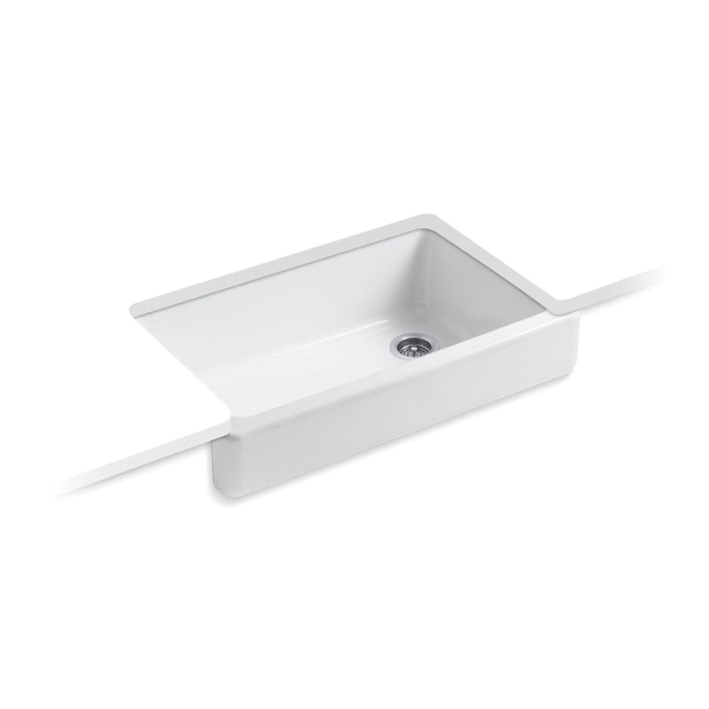Kohler® 6488-0 Self-Trimming Kitchen Sink With Short Apron, Whitehaven® Self-Trimming®, Rectangular, 35-1/2 in W x 21-9/16 in D x 9-5/8 in H, Under Mount, Cast Iron, White