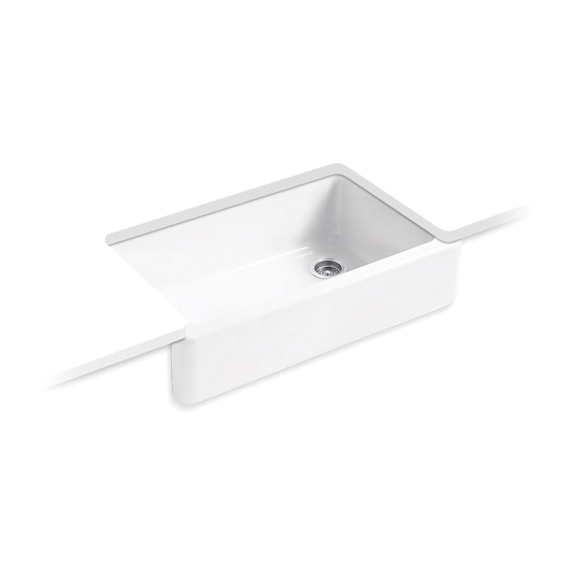 Kohler® 6489-0 Self-Trimming Kitchen Sink With Tall Apron, Whitehaven® Self-Trimming®, Rectangular, 35-11/16 in W x 21-9/16 in D x 9-5/8 in H, Under Mount, Cast Iron, White
