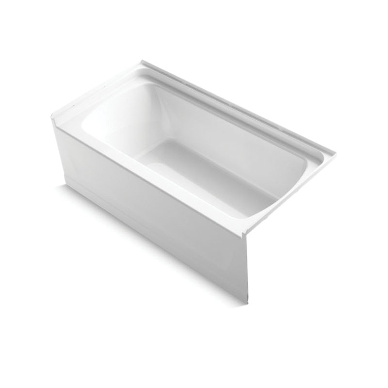 Sterling® 71171122-0 Bathtub, Ensemble™, Soaking Hydrotherapy, Rectangular, 60 in L x 30 in W, Right Drain, White