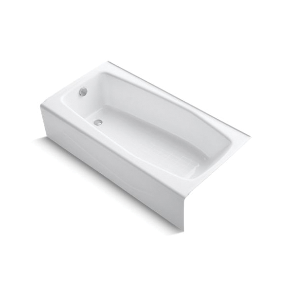 Kohler® 715-0 Bathtub With Integral Apron, Villager™, Soaking Hydrotherapy, Rectangular, 60 in L x 30-1/4 in W, Left Drain, White